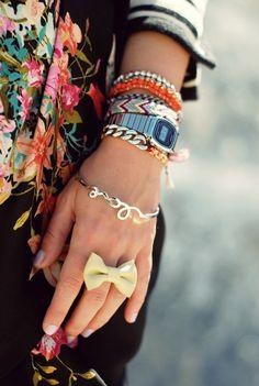 Gold, watch, beads