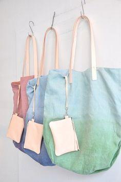 Margarete Hausler LINEN TOTE BAG Cute Tote Bags, Dip Dyed, Linen Bag, Cotton 216e8938a0