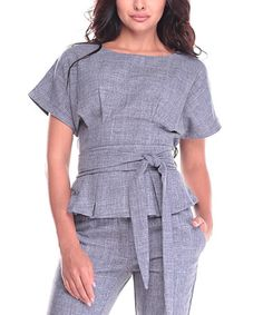 Loving this Gray Crosshatch Tie-Waist Linen-Blend Boatneck Top on #zulily! #zulilyfinds
