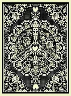 ☮ American Hippie Art ~ Peace Sign .. Obey style