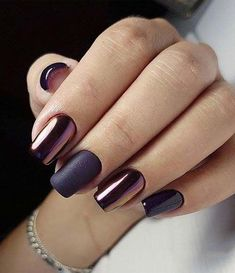 50 Trendy Nail Art Designs to Make You Shine - Nailart - Nails Shiny Nails, My Nails, Fall Nails, Purple Nails, Metallic Nails, Nails Today, Bronze Nails, Blue Nail, Shellac Nails