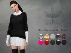 A slouchy sweater worn over an oversized shirt. Available as a top and an full body outfit) Comes in 10 colours. I included some plain, printed and knit versions. Found in TSR Category 'Sims 4 Sets'