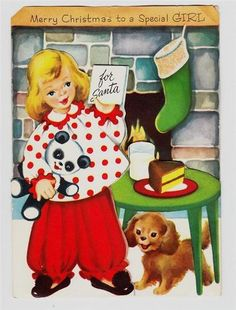 Vintage Christmas card, adorable little girl preparing for Santa