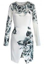 Floral Print Asymmetric Body-con Dress
