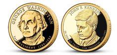 Oficiální prezidentské dolary Spojených států amerických zušlechtěné ryzím zlatem 999/1000