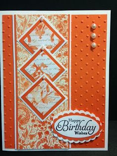 handmade birthday card from My Creative Corner! ... like the overlapping matted inchies ... bright orange and white creating their own spaces with depth of color ... great card ... Stampin' Up!
