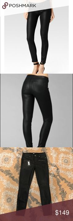 "Paige Coated Denim NWT!!! 👖 This mid rise, ultra skinny denim is all about its exposed pocket zippers on each hip. Features a cropped hem accented with additional long side zippers. This coated pair is in a chic black wash and offers high stretch with a soft, silky, breathable touch. These jeans are HOT HOT HOT!!! Inseam - 27"" Front Rise - 9"" Leg Opening - 10"" Paige Jeans Jeans Skinny"