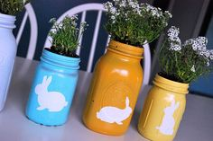 painted easter mason jars