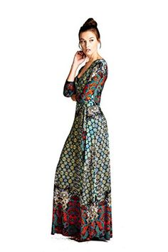 ff6864e0038c0 On Trend Women's Paris Bohemian V-Neck Printed 3/4 Sleeve Faux Wrap Long  Maxi Resort Dress