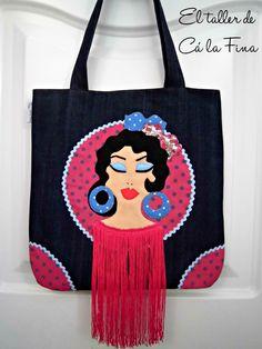 "Bolso flamenco de estilo tote modelo ""Lorena"" #bolsosflamencos #bolsospersonalizados Diy Purse, Tree Branches, Art Pieces, Reusable Tote Bags, Ballet, Drawings, How To Make, Crafts, Painting"