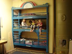 multi-level bunk bed, rustic style Bunk Beds For Boys Room, Rustic Style, Toddler Bed, Child Bed, Rustic Fashion