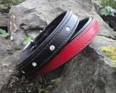 Black diamante and red plain collars, both padded in soft black sheep nappa. Available to order through our website www.jhleather.co.uk. Many colours and designs to choose from