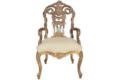 Italian Carved-Back Armchair
