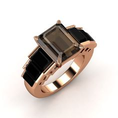 Emerald-Cut Smoky Quartz 14K Rose Gold Ring with Black Onyx | Evelyn Ring | Gemvara