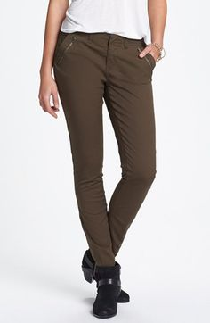 Jolt Zipper Detail Twill Pants (Juniors) available at #Nordstrom