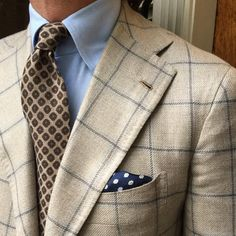 """Viola Milano combo with a """"Multi Pattern sell-tip wool - Sand"""" tie & handrolled silk pocket square… Jacket by @orazio_luciano / @pinoluciano"""
