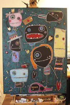 fragile Techniques mixtes sur carton www.creationlesaffreux.com Lessons For Kids, Art Lessons, Monster Co, Doodles Zentangles, Arts Ed, Heart For Kids, Reggio, Painting For Kids, Pebble Art