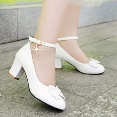 Bowtie Women Pumps Ankle Straps High Heels Thick Heeled Shoes Woman,Bowtie Women Pumps Ankle Straps High Heels Thick Heeled Shoes Woman Women's Shoes Whether ballerinas, shoes, high heel shoes or shoes - wonderful shoe. Ankle Strap Block Heel, Ankle Strap High Heels, Ankle Straps, White High Heels, High Heels For Kids, Womens High Heels, Ladies Heels, Women's Pumps, Shoes Heels
