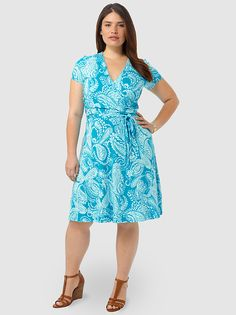 Shirred Surplice Dress In Cyan Paisley by Lands'End, Available in sizes M/L,0X/1X/2X and 3X