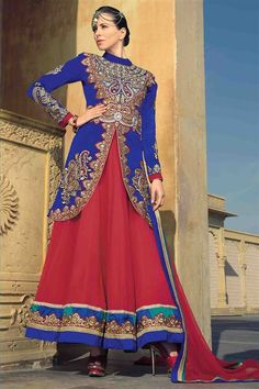 Stylish Embroidered Blue, Red Georgette Long Suit