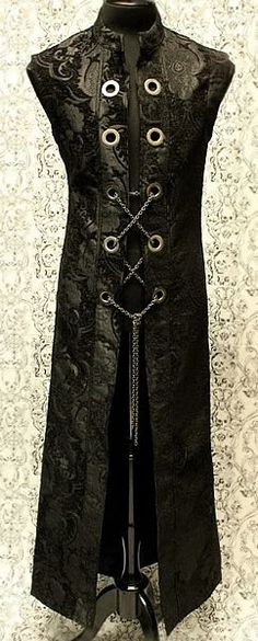 Hellraiser Cassock with Chains - Black Tapestry by Shrine Clothing Goth Mens Cassock Jackets