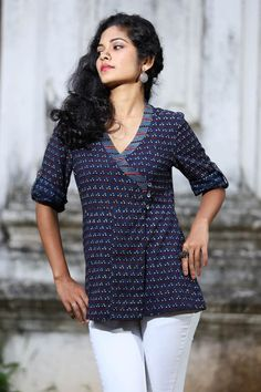 Hyacinth Overlap Top – Seamstress - All About Salwar Designs, Short Kurti Designs, Kurta Designs Women, Kurti Neck Designs, Blouse Designs, Stylish Tops For Women, Kurta Patterns, Short Tops, Indian Designer Wear