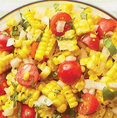 Fresh Corn & Tomato Salad - 4 ears corn, 2 lg tomatoes, halved, 1 small sweet onion, chopped,  basil, chopped (about 1/3 c.), 2 tbsp white vinegar,  2 tbsp olive oil, 1/4 tsp sea salt, 1/8 tsp pepper. Boil corn in water for about 7 minutes. Remove corn and plunge into cold water. Cut corn off cob and set aside to cool completely. In a large bowl, combine cooled corn, tomatoes, onion and basil. Toss with vinegar and olive oil. Season with sea salt and pepper. Serve chilled or at room temperature.