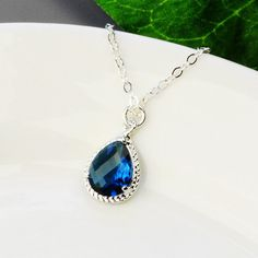 Navy Blue Necklace  Silver Sapphire Blue by MyDistinctDesigns, $30.00