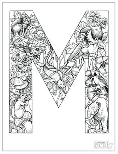 Alphabet Animal Coloring Pages M