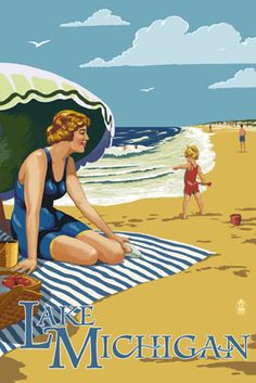 Lake Michigan - Beach Scene - Lantern Press Poster