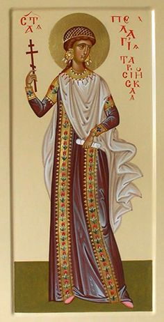 Pelagia, was an actress of Antioch, equally celebrated for her beauty, She… Byzantine Icons, Byzantine Art, Religious Icons, Religious Art, Paint Icon, Austerity, Russian Icons, Religious Paintings, Best Icons