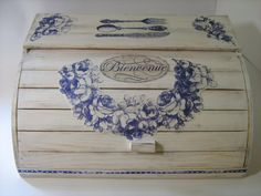 OFF: White Shabby Chic Provence Roll Top Wooden Bread Box Decoupaged