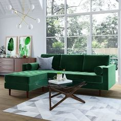 Matilde Reversible Velvet Sectional - The Matilde Reversible Velvet Sectional combines classic mid-century lines and tufting with a sleek silhouette, offering your living . Mod Living Room, Living Room Green, Living Room Sofa, Living Room Furniture, Living Room Decor, Living Spaces, Green Rooms, Make Green, Home Design