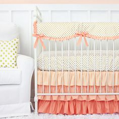 Coral and Gold Dot Ruffle Designer Baby Bedding - 2 or 3 Piece Crib Set by CadenLaneBabyBedding on Etsy https://www.etsy.com/listing/200361714/coral-and-gold-dot-ruffle-designer-baby