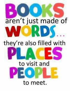 and IDEAS to consider. Books aren't just made of words.they're also filled with places to visit and people to meet. 6 mini posters for READING Corner! Library Quotes, Library Posters, Reading Posters, Library Lessons, Library Books, Library Signs, Piano Lessons, Reading Books, Library Ideas