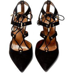 Aquazzura Black Suede Bel Air Pump (2,715 MYR) ❤ liked on Polyvore featuring shoes, pumps, heels, shoes - heels, zapatos, suede shoes, black pointed-toe pumps, pointed-toe pumps, black tie shoes and black studded pumps