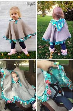 THE BEST Car Seat Poncho Tutorial - Fleece-lined! {Reality Daydream} This cozy carseat poncho is perfect as a jacket or coat for kids or babies, and is fairly easy to make with this tutorial! Simple Dress For Girl, Simple Dresses, Fleece Poncho, Hooded Poncho, Love Sewing, Sewing For Kids, Sewing Hacks, Sewing Crafts, Sewing Tips