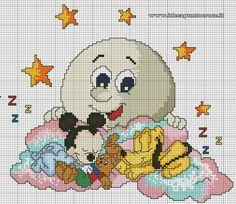 Disney Cross Stitch Patterns, Cross Stitch For Kids, Cross Stitch Baby, Cross Stitch Kits, Cross Stitch Charts, Cross Stitch Designs, Baby Embroidery, Cross Stitch Embroidery, Stitch Cartoon