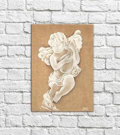 Painting Angel Cherub Angel shabby chic decoration original