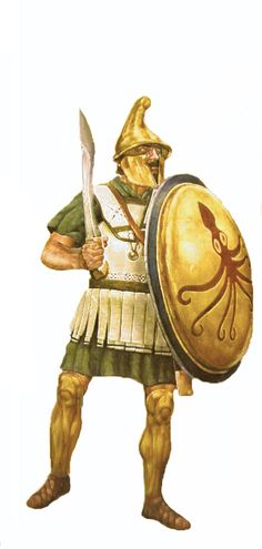 Hoplite in linothorax armour and Thracian style helmet, with 'falcata' sword.