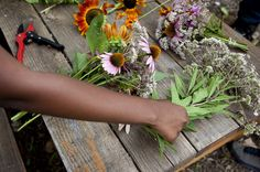 School Gardens are 'da bomb!Students at Eastern Senior High School in Washington, D.C., trim bouquets to sell at the farmers market.