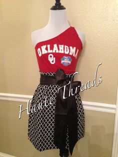 Oklahoma Sooners OU One Shoulder College Gameday Red Black White Dress with Black Sash Bow - Small on Etsy, $55.00