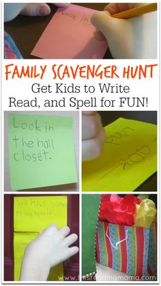Family Scavenger Hunt ~ Get Kids to Write, Read, and Spell for FUN any time! | This Reading Mama