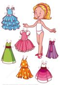 Six Beautiful Dresses for a Blonde Girl Paper Doll Paper craft