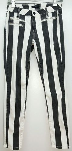 BeBe black & white striped skinny ankle stretch jeans womens 28 punk costume…