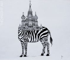 Rare Unique Animals by: The21Night  -Saint Zebrasil  ►https://www.behance.net/the21night   #Illustration #Art #Zebra #Drawing #Surrealism #Basilic #Moscow #Animals #Arquitecture