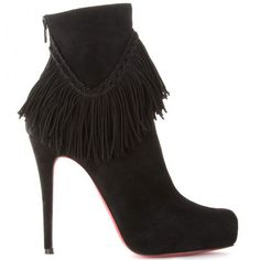 Christian Louboutin Rom 120 Suede Fringe Ankle Boots  $172.99