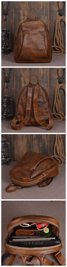 Vintage Style Handmade Leather School Backpack Casual Rucksack Laptop Bag in Vintage Brown 14133