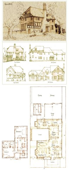 House 325 Plan by ~Built4ever on deviantART--- I love the master bath and kind of like the courtyard idea too.