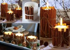 DIY-home-made cinnamon candle Giant Candles, Diy Candles, Pillar Candles, Scented Candles, Ideas Candles, Decorative Candles, Christmas Crafts, Christmas Decorations, Wall Decorations